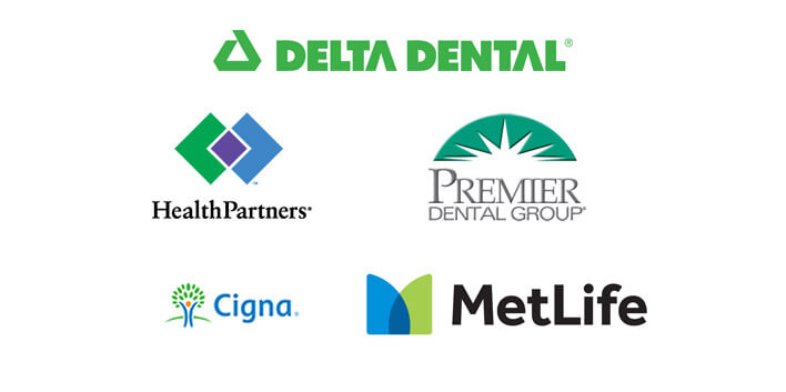 Delta Dental, Health Partners, Premier Dental Group, Cigna, MetLife Logos